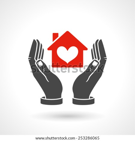 Hands Holding House Symbol With Heart Shape - stock vector