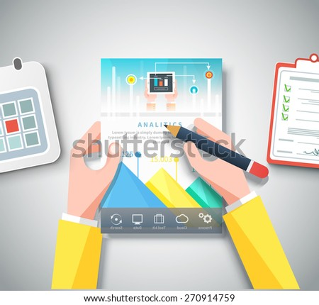 Hands holding infographic business brochure banners analitics, strategy. Modern stylized graphics data visualization. Web banners marketing and promotional materials, flyers, presentation templates - stock vector