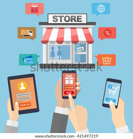 Hands holding mobile devices and online shopping. E-commerce concept.