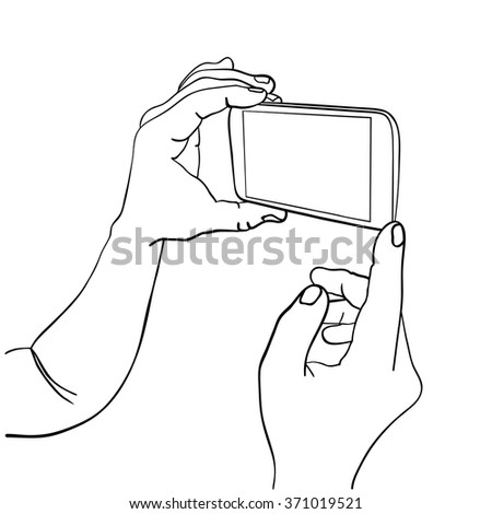 Hands holding mobile smart phone with empty screen. Sketch isolated on white. Vector Illustration. - stock vector