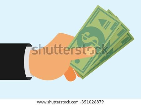 Hands holding money bills. Flat style - stock vector