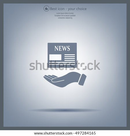 Hands holding newspaper. Vector flat icon of news.