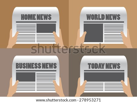 Hands holding newspaper with different section titles and headlines. Set of four vector cartoon illustration isolated on plain background. - stock vector