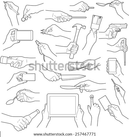 Hands holding objects collection - vector illustration - stock vector
