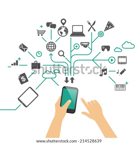 Hands holding phone, using different apps - flat design infographic vector illustration / multitasking concept - stock vector