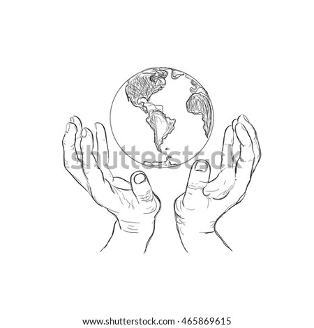 hands holding planet, sketch style, vector illustration