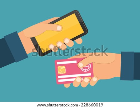 Hands holding plastic card and mobile. Exchange and purchasing. Flat design vector illustration - stock vector