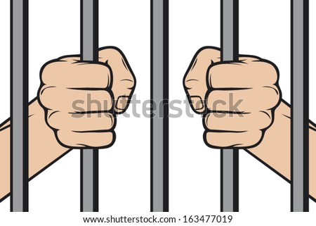 hands holding prison bars (hand behind prison bars, hand in jail)  - stock vector
