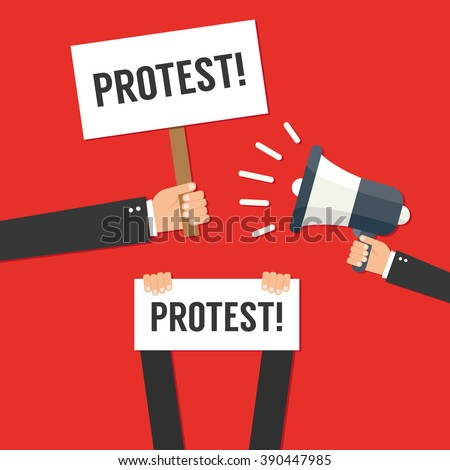 Hands holding protest signs - stock vector