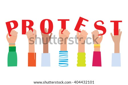 Hands holding protest signs , crowd of people protesters background, political, politic crisis poster - stock vector