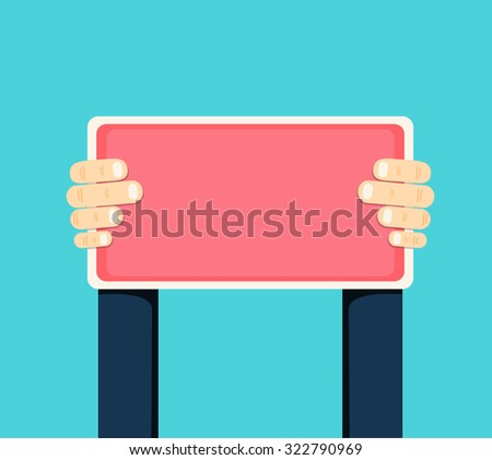Hands holding red sign with a space for text, vector illustration - stock vector