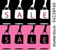 """Hands holding shopping bags silhouettes with """"SALE"""" written across them. In 2 color options each on separate layers. - stock vector"""