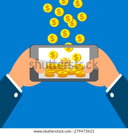 Hands holding smart phone and Earning Coins - stock vector