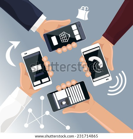 Hands holding smartphones telephones that call send sms bought products online cartoon flat design style - stock vector