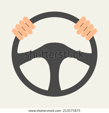 Hands holding steering wheel, vector illustration in flat style. - stock vector