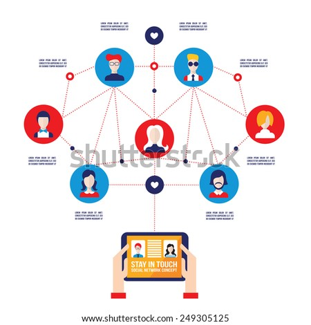 Hands holding tablet with web icons Social network and Communication concept - stock vector
