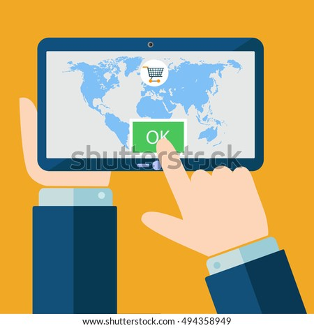 Hands holding tablet with world map on screen. Vector flat illustration.