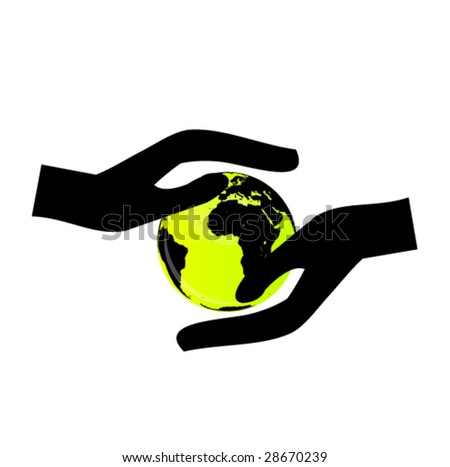 hands holding the globe 3 - stock vector