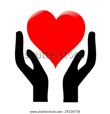 hands holding the heart #1 - stock vector