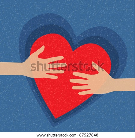 hands holding the heart. charity - stock vector