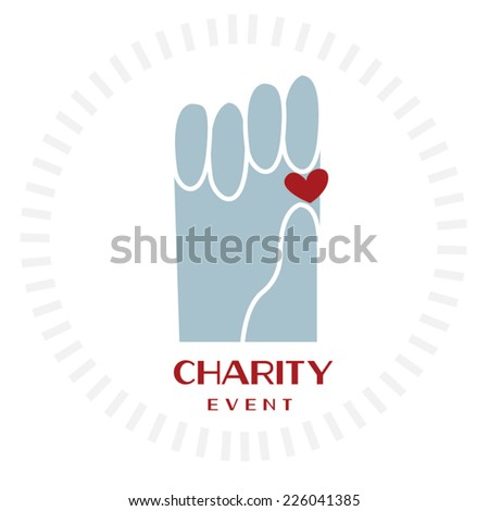 hands holding the heart/ Charity poster - stock vector