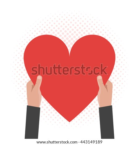 Hands holding the heart. Concept for postcards, greeting, valentine's day, mother's day. Vector illustration - stock vector