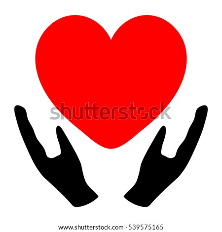 Hands holding the heart - icon.Job from medicine or Valentine's Day. Vector eps 10 Vector eps 10
