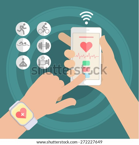 Hands holding touch phone and smart watch with mobile app health sensor. Flat design vector illustration - stock vector