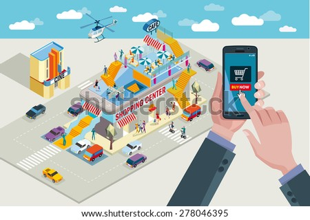 Hands holding touchscreen smart phone. In the screen a mobile applications with Buying Icon. In the background a Shopping Center in isometric view. - stock vector