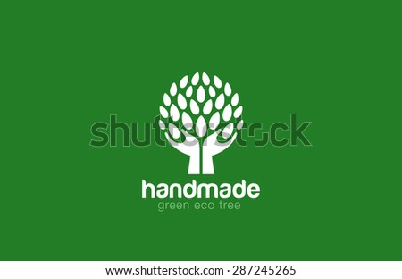 Hands Holding Tree with leaves Logo Abstract circle shape. Eco green natural Farm logotype concept icon. - stock vector