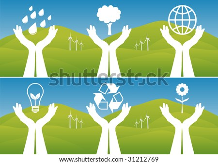 Hands holding up ecological symbols. Vector illustration. - stock vector