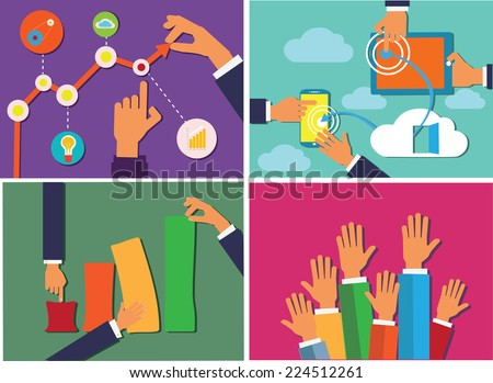 Hands holding various objects flat design image set. - stock vector