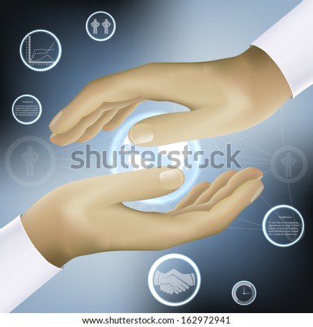 hands holding world business concept abstraction vector - stock vector