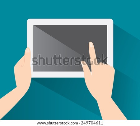 Hands holing tablet computer with a blank screen in flat design. Eps 10 vector illustration - stock vector