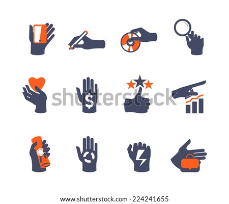 Hands icon set for website or application. Flat design - stock vector