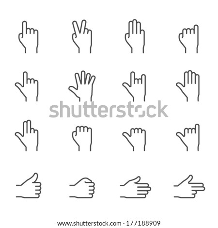 Hands Icons - stock vector