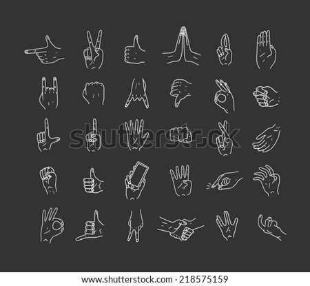 Hands. Icons. Gestures. Hand drawn vector illustration. Isolated. Doodle. - stock vector