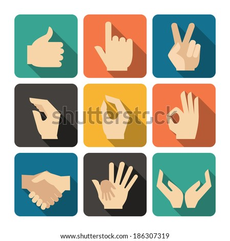 Hands Icons Set, Flat Design Vector illustration - stock vector