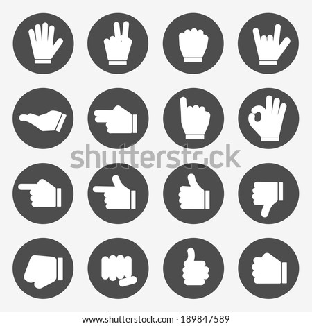 Hands Icons Vector - stock vector