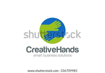 Hands in circle Logo design vector template. Handmade Business Contract Deal Logotype concept flat icon - stock vector