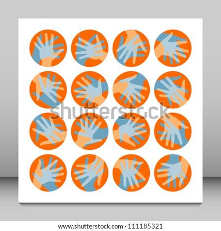 Hands in circles design. - stock vector