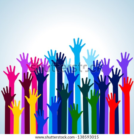 Hands in colors. Illustration on blue background for design - stock vector