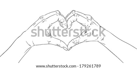 Hands in heart form, detailed black and white lines vector illustration, hand drawn. - stock vector