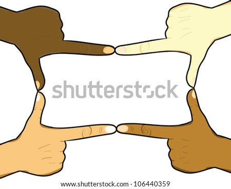 Hands in the pointed position to form a rectangle. Each hand can be isolated for individual use. Great for presentations, backgrounds, announcements and others. - stock vector