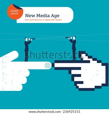Hands in the pointed position with businessmen and spyglasses on top. Vector illustration Eps10 file. Global colors. Text and Texture in separate layers. - stock vector