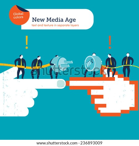 Hands in the pointed position with businessmen plug and usb cable. Vector illustration Eps10 file. Global colors. Text and Texture in separate layers. - stock vector