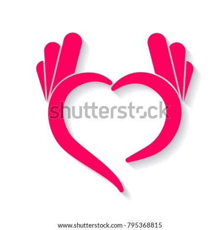 Hands in the shape of heart, symbol icon vector