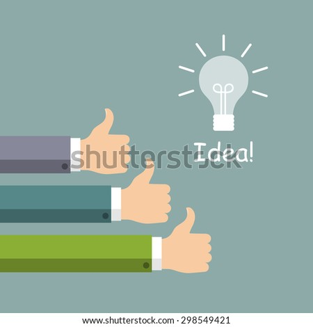 Hands in thumbs up sign and light. Symbol of good new idea. Vector illustration.