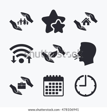 Hands Insurance Icons Human Life Insurance Stock Vector 478106941