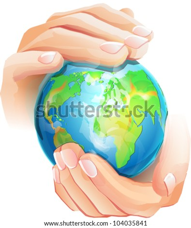 Hands is holding small earth - stock vector